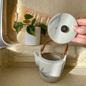 Vintage ceramic grey blue teapot wicker handle